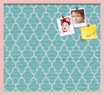 ArtToFrames 30x20 Custom Cork Bulletin Board. This Quatrefoil Aqua Pin Board Has a Fabric Style Canvas Finish, Framed in Baby Pink on Beech (PinPix-278-30x20_0066-81792-YPNK)