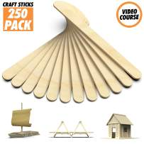 Popsicle Sticks for Crafts - Craft Sticks Pack 250 Wooden Sticks for DIY Projects with Natural Wood Safe for Ice Popsicles - Wooden Craft Sticks Ready to Use & Perfect for Classrooms, Home and More