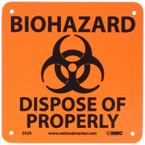 "NMC S92R Graphic See Sign, Legend ""BIOHAZARD- DISPOSE OF PROPERLY"", 7"" Length x 7"" Height, Rigid Plastic, Black on Orange"