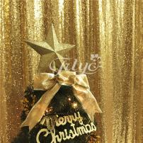 TRLYC 4FTx6.5FT Gold Sequin Backdrop, Shimmer Sequin Fabric Photography Backdrops Sequin Curtain for Wedding/Party/Christmas(Gold)