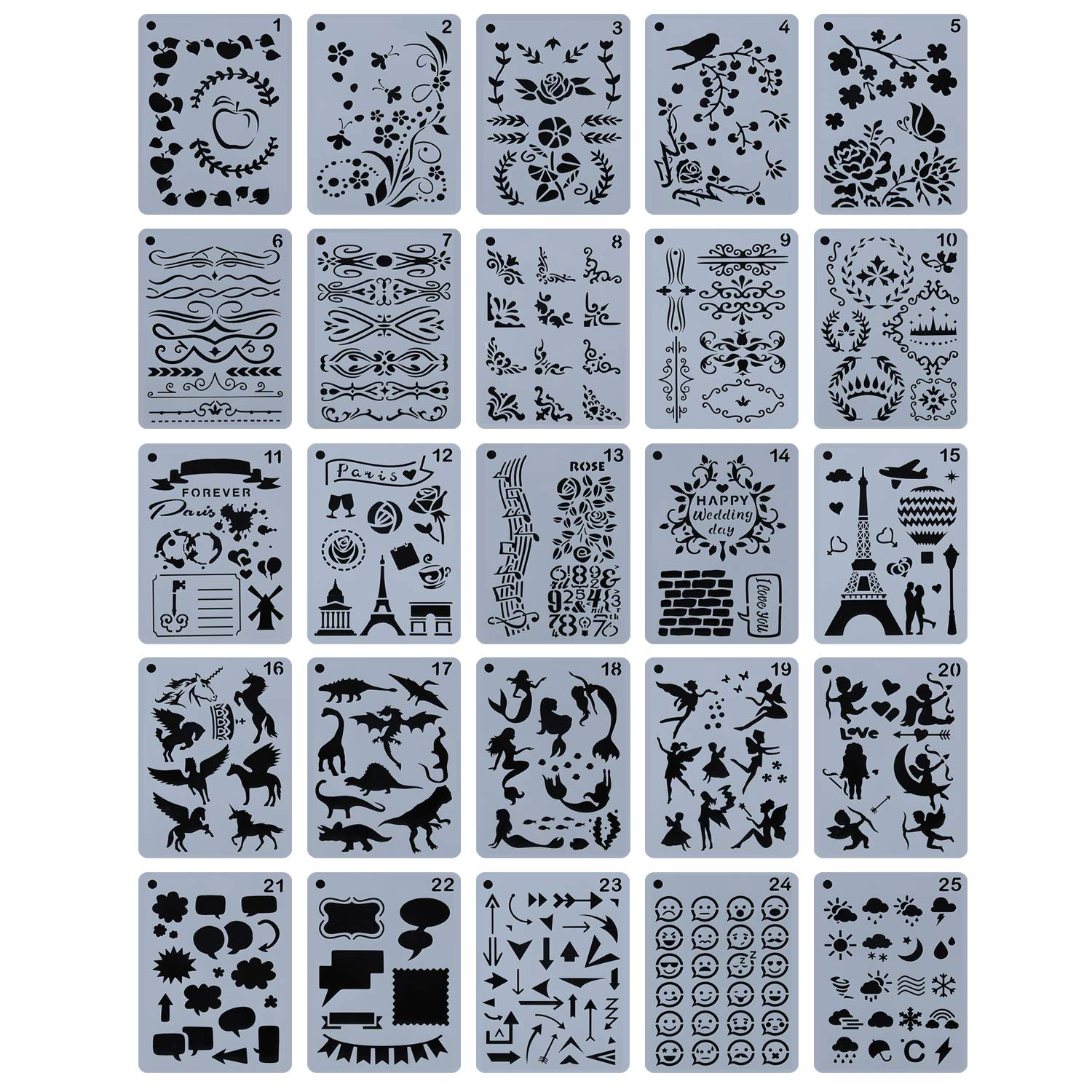 "YUEAON 25-Pack 5"" x 7"" Journal Stencils Drawing Floral Template Stencil Supplies for DIY Bullet Scrapbook Notebook Dairy Planner Craft"
