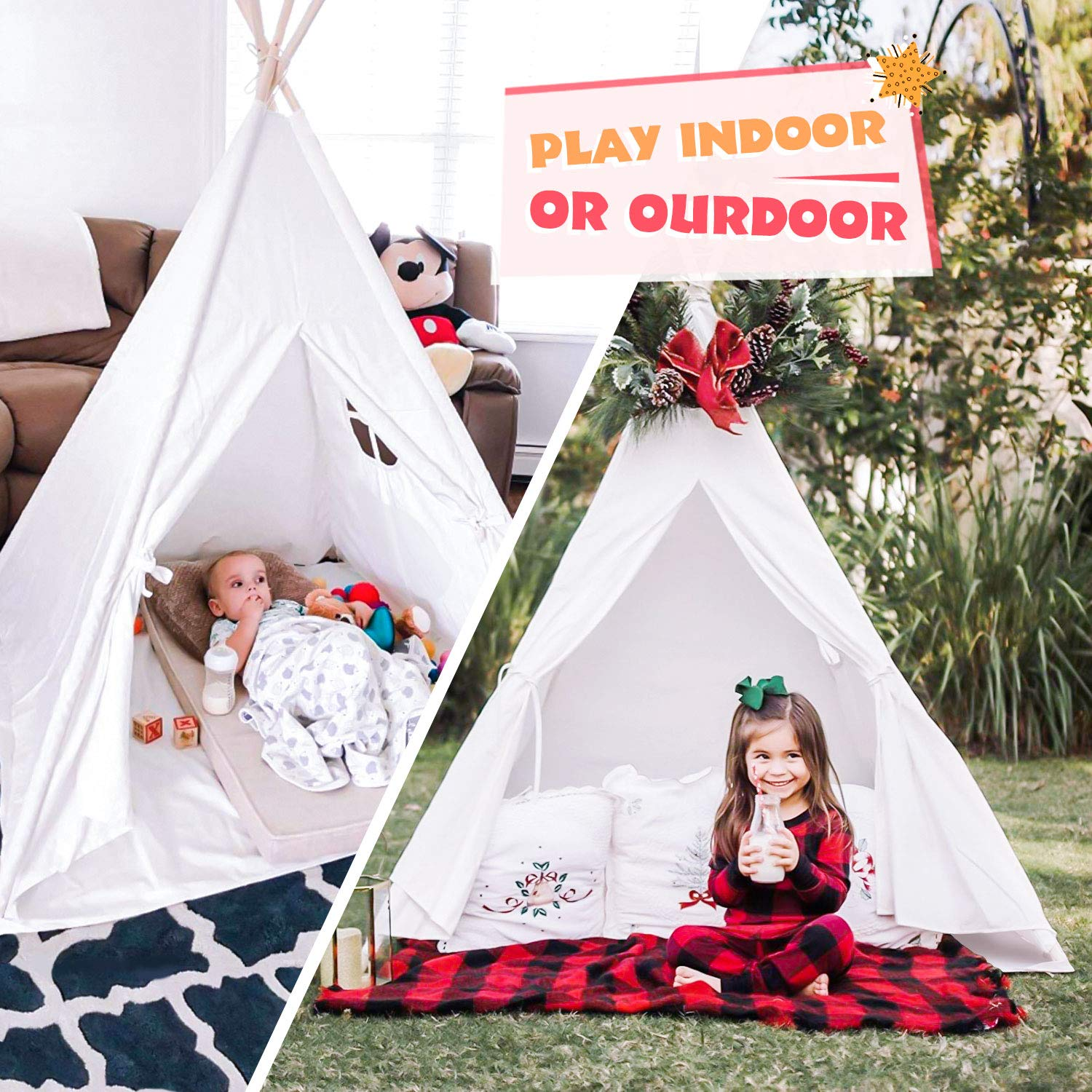 Peradix Teepee Tent for Kids, Foldable Children Indian Play Tents for Girl and Boy with Carry Bag Canvas Playhouse Toys for Girls or Child Indoor and Outdoor Camping with Cotton Cushion Flags(White)