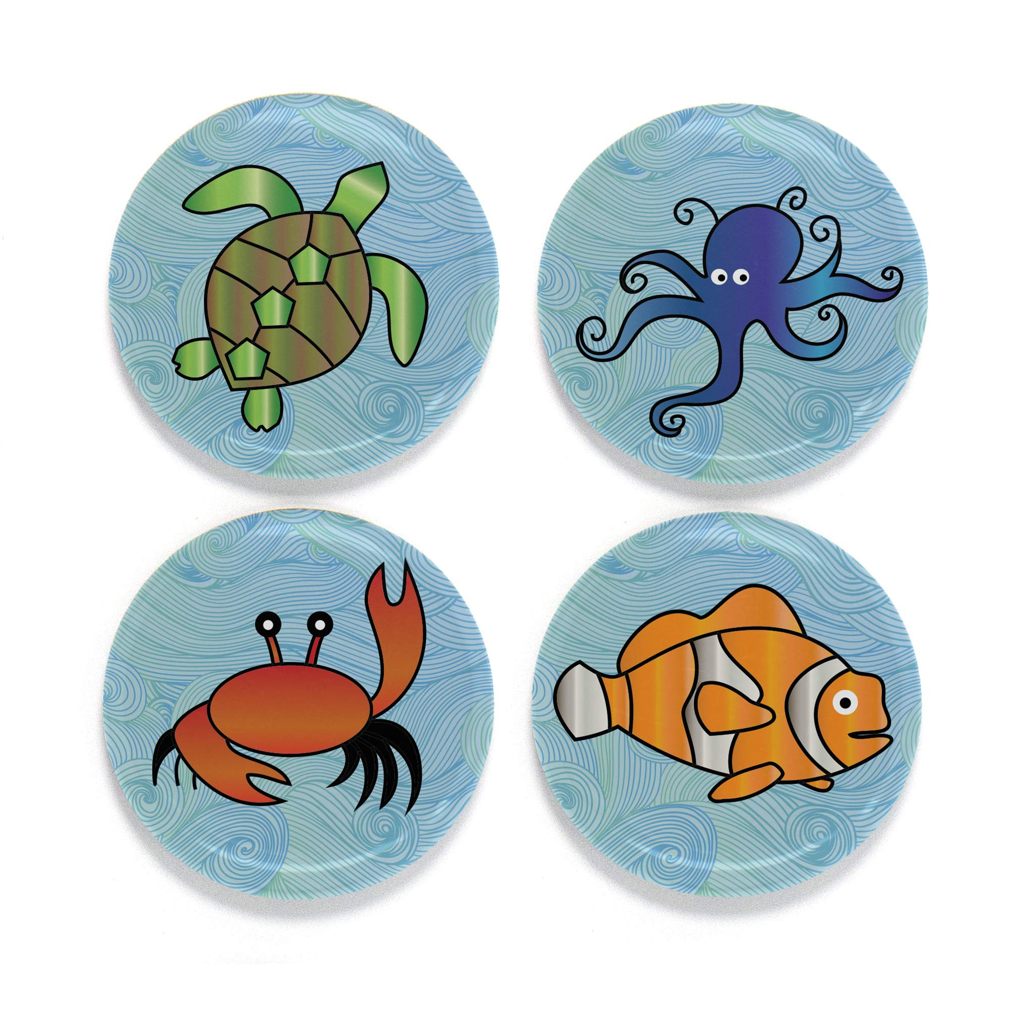 """Buttonsmith Sea Animals Magnet Set - Set of 4 1.25"""" Magnets - Made in the USA"""