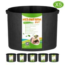 MELONFARM 5-Pack 10 Gallon Grow Bags Heavy Duty Aeration Fabric Pots,Thickened Non-Woven Plant Smart Pots with Durable Handles, for Plant Growing