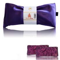 Blissful Being Lavender Eye Pillow with Purple Satin Cover- Hot or Cold Aromatherapy Eye Pillow perfect for Naps, Yoga, Meditation - Natural Relaxation (Amethyst with purple cover bundle)