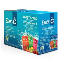 Ener-C - Vitamin C Immune Support, 1000mg Vitamin C Effervescent Multivitamin Drink Powder, Fruit Juice Vitamin C Drink Mix for Hydration with Electrolytes, Flavor Variety Pack, 30 Packets