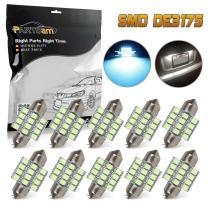 Partsam DE3175 31mm Festoon LED Light Bulbs Canbus Error Free 3175 De3021 LED Lights for Car Interior Dome Map Trunk Lights -10Pcs Ice Blue