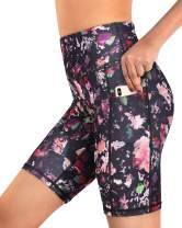 Promover High Waist Yoga Shorts for Women with Pockets Non See-Through Workout Running Pants