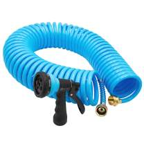 AUTOMAN-Garden-Water-Hose-Recoil,50 Feet EVA Curly Water Hose with Brass Connectors,Watering Hose Coil,Includes 7-Pattern Function Sprayer,Retractable,Corrosion Resistant Garden Coil Hose.Blue