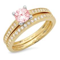 1.0 ct Princess Cut Pink Simulated Diamond Classic Wedding Engagement Bridal Promise Designer Ring Solid 14k Yellow Gold