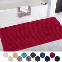 DEARTOWN Non-Slip Shaggy Bathroom Rug(31x59 Inches,Red),Soft Microfibers Chenille Bath Mat with Water Absorbent, Machine Washable