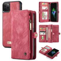 """AKHVRS iPhone 11 Pro Max Wallet Case, Handmade Premium Cowhide Leather Wallet Case,Zipper Wallet Case Cover [Magnetic Closure] Detachable Magnetic Case & Card Slots for 6.5"""" iPhone - Red"""