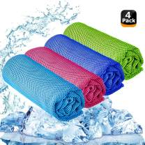 """YQXCC Cooling Towel 3 Pcs (47""""x12"""") Microfiber Towel for Instant Cooling Relief, Cool Cold Towel for Yoga Golf Travel Gym Sport Camping Football & Outdoor Sports (Light Blue/Dark Blue/Rose Red/Green)"""