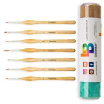 Miniature Paint Brushes by LEDGEBAY | Fine Tip Brush Set for Micro Detail | Hand Crafted, Perfectly Balanced and Weighted Wood Handles, Taklon Bristles for Model, Acrylic, Oil, Watercolor (7, Wood)
