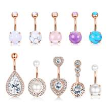 Vegolita 6-8Pcs 14G Stainless Steel Belly Button Rings for Women Girls Created-Opal Navel Rings CZ Turquoise Barbell Body Piercing Jewelry