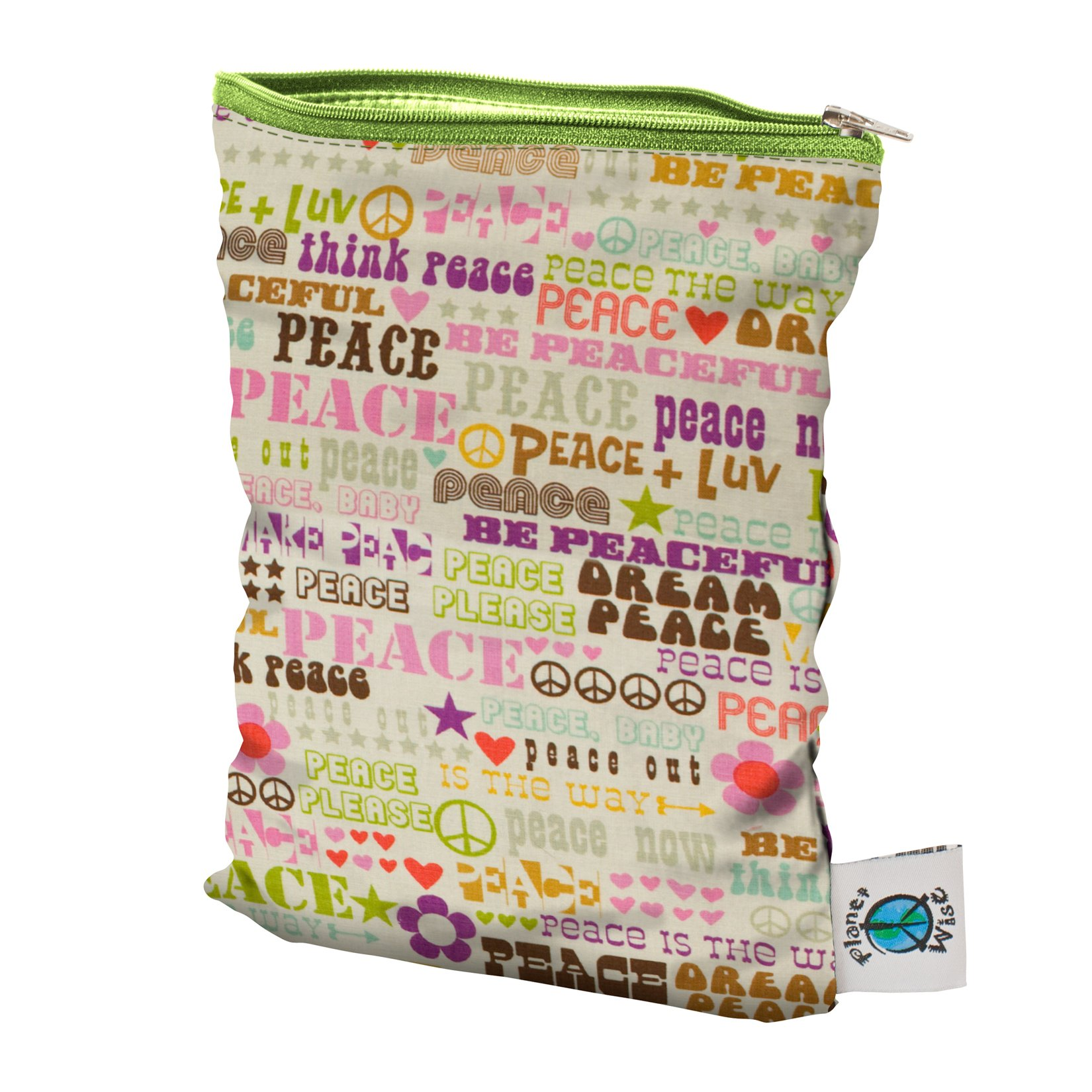 Planet Wise Wet Diaper Bag, Think Peace, Small