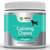 Alpha Paw Calming Treats for Dogs - Natural Dog Calming Aid and Dog Anxiety Relief with Pure Organic Hemp, Magnesium, L-Theanine, L-Tryptophan, Valerian Root, Chamomile - 90 Calming Chews for Dogs