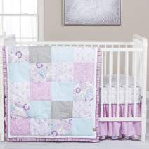 Grace Purple and Blue Floral Patchwork 5 Piece Baby Girl Crib Bedding Set