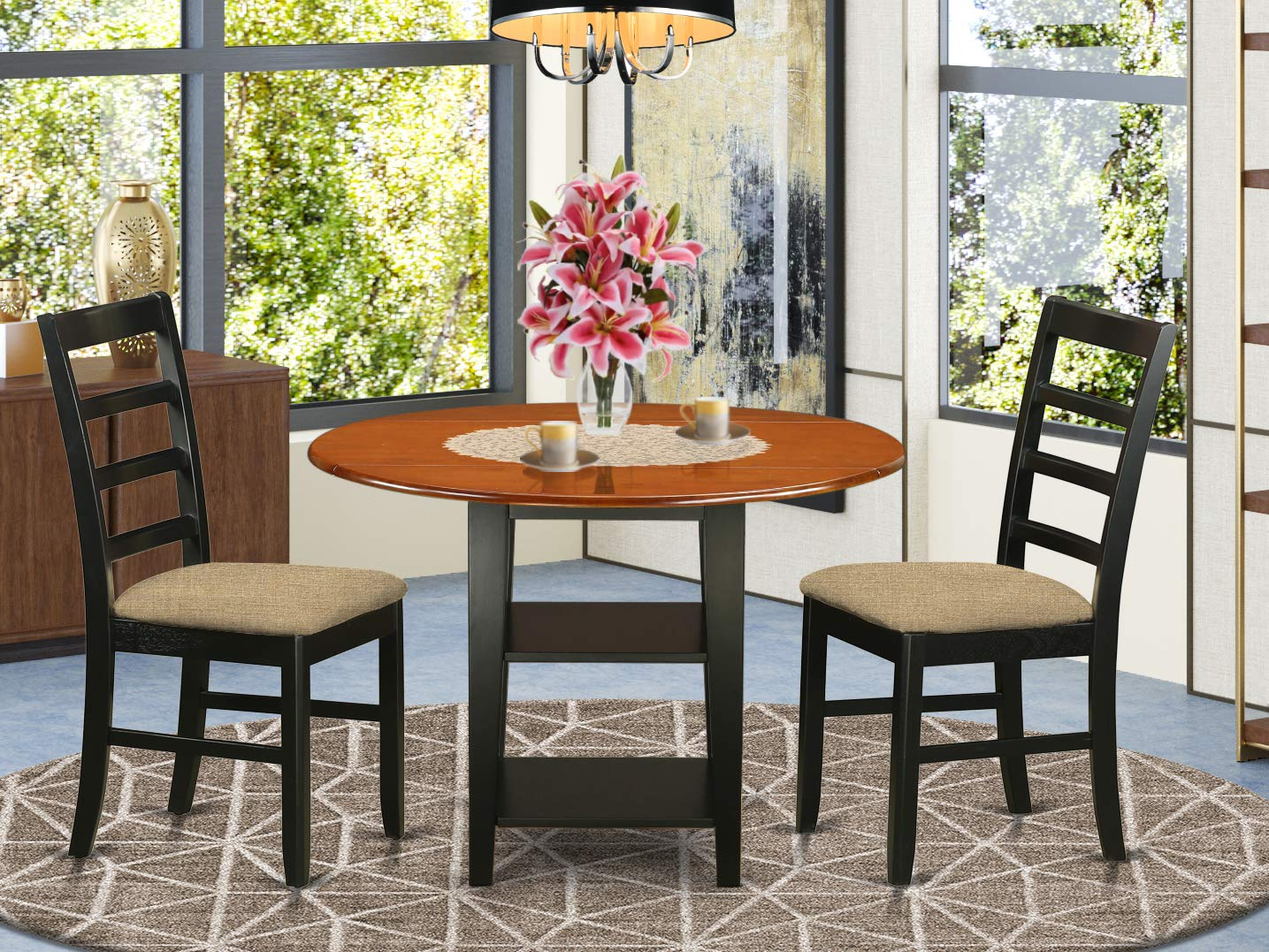 3 Piece Sudbury Set With One Round Dinette Table And 2 Dinette Chairs With Cushion Seat In A Elegant Black and Cherry Finish.