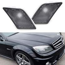 iJDMTOY OEM-Spec Black-Out Style Front Bumper Side Marker Lamp Housings Compatible With 2008-2011 Mercedes W204 Pre-LCI C250 C300 C350 & 2008-13 C63 AMG C-Class