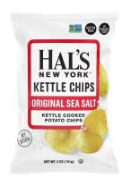 Hal's New York Kettle Cooked Potato Chips, Gluten Free, Sea Salt, 5 oz Bag (Pack of 6)