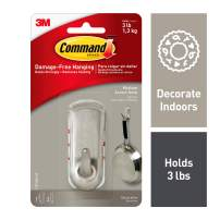 Command Accent Hook, Medium, Brushed Nickel, 1 Hook (17071BN-ES), Great for dorm decor