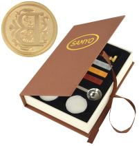 Samyo Wax Seal Stamp Kit Retro Creative Sealing Wax Stamp Maker Gift Box Set Brass Color Head with Vintage Classic Alphabet Initial Letter (B)