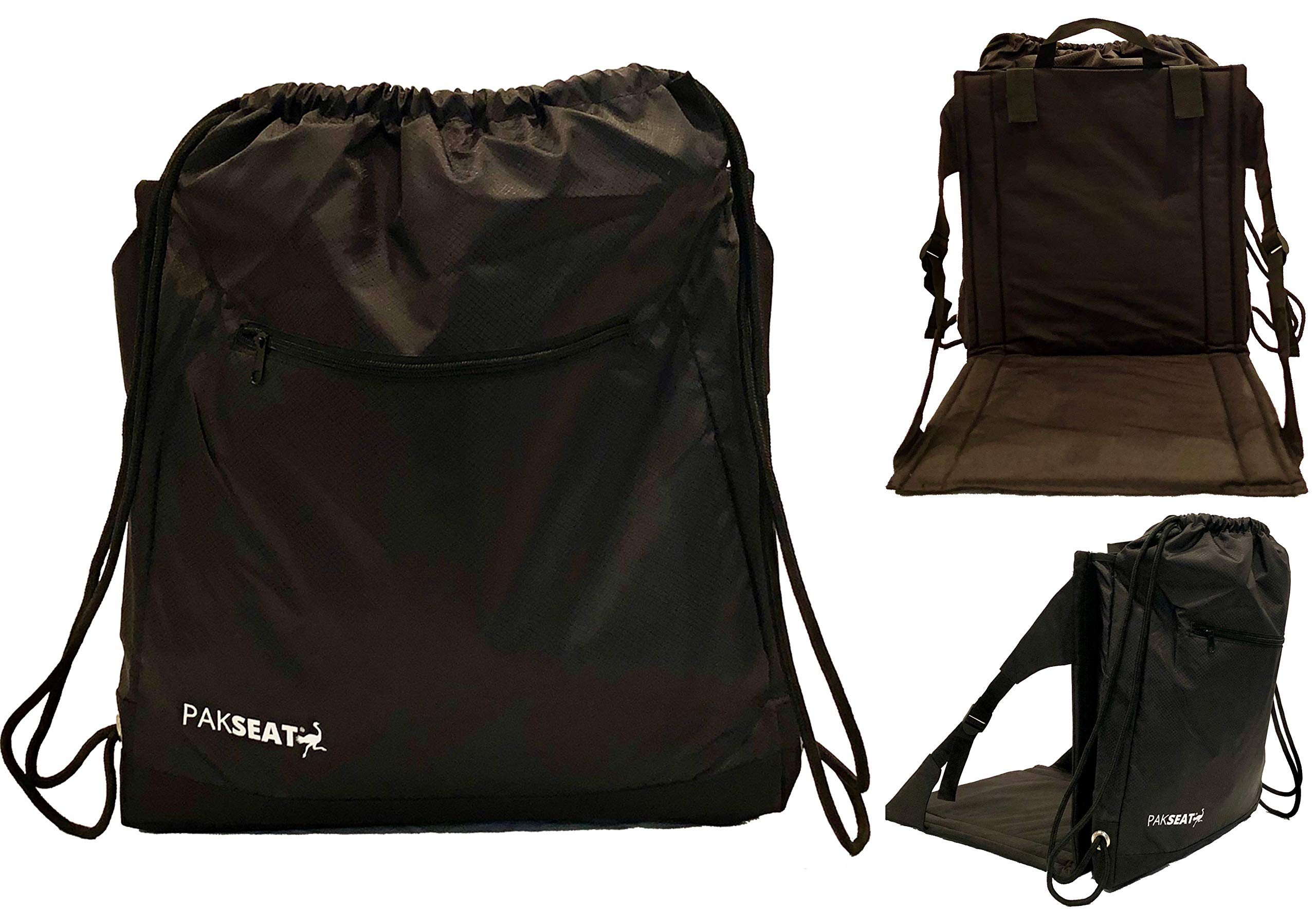 Ostrich PakSeat 2N1 Seat and Backpack Sackpack & Stadium Seat, Padded Seat, Adjustable Back Support, Water Bottle Sleeves, Large Storage Compartments, Athletic Bag, String Bag