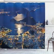 "Ambesonne Night Shower Curtain, Aerial View of Mountain Sugar Loaf and Botafogo Rio de Janeiro, Cloth Fabric Bathroom Decor Set with Hooks, 75"" Long, Violet Blue"