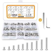 VIGRUE 400PCS M4x5/6/8/10/12/14/16/18/20/25mm Hex Button Head Socket Cap Screw Nut Washer Assortment Kit with Wrench, Stainless Steel 304