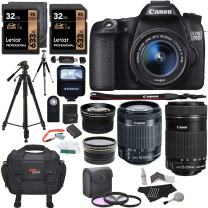 Canon EOS 70D 20.2 MP SLR Camera AF Full HD 1080p Video + EF-S 18-55mm f/3.5-5.6 IS STM Lens + 55-250mm f/4-5.6 Image Stabilizer Zoom Lens + .43x Wide Angle & 2.2X Telephoto Lens + Accessory Bundle