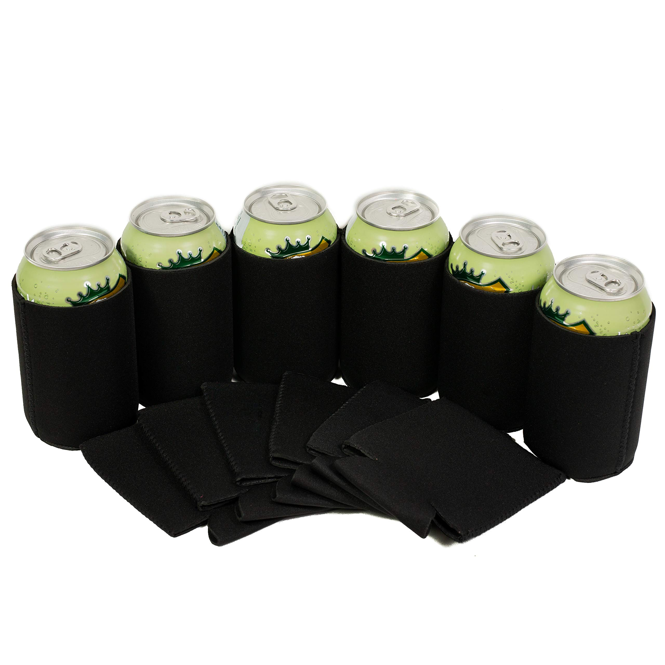QualityPerfection 12 Black Can Cooler Sleeve - Collapsible Blank Neoprene Coolie Economy Bulk Insulation with Stitches Perfect 4 Events,Custom DIY Projects Variety of Colors