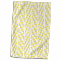 """3D Rose Herringbone Pattern Yellow Gray and White Towel, 15"""" x 22"""", Multicolor"""