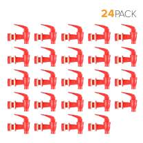 Brio Water Dispenser Replacement Valve 24-PACK, Cooler Faucet Spigot for Beverage Dispensers, Crocks, Coolers, and More BPA-Free Food Safe Material (Red)