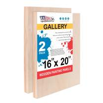 "U.S. Art Supply 16"" x 20"" Birch Wood Paint Pouring Panel Boards, Gallery 1-1/2"" Deep Cradle (Pack of 2) - Artist Depth Wooden Wall Canvases - Painting Mixed-Media Craft, Acrylic, Oil, Encaustic"