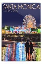 Lantern Press Santa Monica, California, Pier at Night (12x18 Aluminum Wall Sign, Wall Decor Ready to Hang)