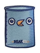 Randy Otter Beaker Funny Bird Science Glass Iron On Patch