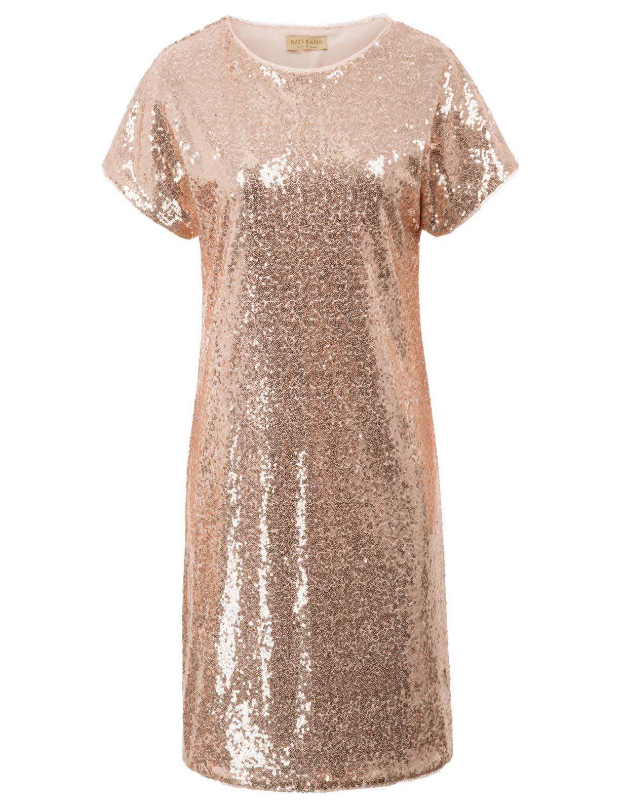 Kate Kasin Women Sparkle Sequin Loose Party Dress Short Sleeve Cocktail Dresses