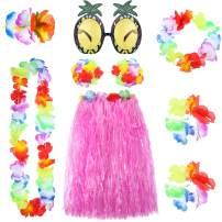 8 Pieces Hawaiian Hula Grass Skirt Set with Necklace Bracelets Headband Flower Bikini Top Hair Clip and Pineapple Sunglasses Party Decoration (Pink)