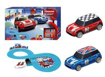 Carrera First Mini Cooper Slot Car Race Track - Includes 2 Cars: Blue and Red Mini Cooper and Two-Controllers - Battery-Powered Beginner Set for Kids Ages 3 Years and Up
