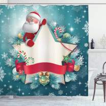 """Ambesonne Christmas Shower Curtain, Santa Claus Star Banner Snowflakes Ribbon and Candy Cane Tree Winter Season Theme, Cloth Fabric Bathroom Decor Set with Hooks, 70"""" Long, Red White"""