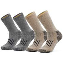 SOX TOWN Men's Merino Wool Moisture Wicking Outdoor Hiking Thermal for Winter Heavy Cushion Crew Socks