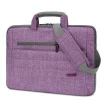 BRINCH Laptop Bag for Women Slim Light Business Briefcase Shoulder Messenger Bag Water Resistant Portable Computer Carrying Sleeve Case w/Strap and Hidden Handle Fits 14-14.6 Inch Laptop, Purple