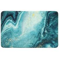 HAOCOO Area Rugs 2'x3' Turquoise Marble Bath Mat Non-Slip Modern Velvet Throw Rug Soft Luxury Microfiber Machine-Washable Accent Floor Bathroom Rugs for Doormats Tub Shower Decor