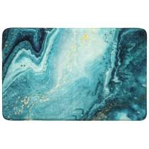 HAOCOO Area Rugs 2'x3' Turquoise Marble Bath Mat Non-Slip Modern Velvet Throw Rug Soft Luxury Microfiber Machine-Washable Accent Floor Bathroom Rugs for Doormats Tub Shower Decor