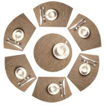 SHACOS Round Table Placemats Set of 7 Woven Vinyl Wedge Placemats with Centerpiece Round Table Mat Heat Resistant Wipe Clean (7, Bamboo Tan)