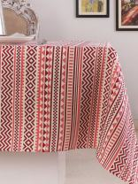 Table Cloth, 100% Cotton, Rectangular Table Cloth of Size 52X70 Inch, Eco - Friendly & Safe, Aztec Design for Kitchen