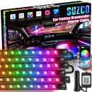 SUZCO 6PCS Car Rainbow Interior Lights, Car LED Strip Light Waterproof with 210-Modes APP Smart Controller, 4-in-2 Multi DIY Color Music Under Dash Car Lighting Kit with Car Charger, DC 12V
