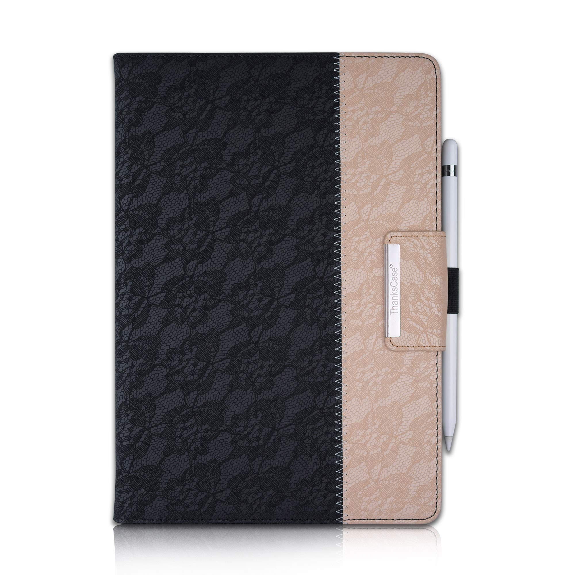Thankscase Case for iPad 10.2, Rotating Stand Protective Case Cover for iPad 7th Gen with Wallet Pocket, Hand Strap, Pencil Holder and Smart Cover for Apple iPad 10.2 2019 Release (Lace Black Gold)