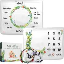 Baby Monthly Milestone Blanket  DOUBLE SIDED + WREATH FRAME  Growth Month Blanket - Best Shower Gift for Newborn Girl & Boy - Floral Age Photo Props Backdrop - 2 layer Soft Fleece Large 50 x 40